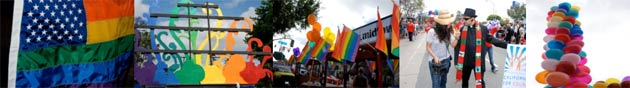 same-sex rainbow flags and balloons